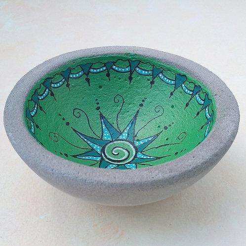 Betonschale grün mit Mandala, Geschenk Beton, bemalt