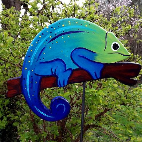 """Gartenstecker Chamäleon """"Roberto"""" in Blau, Grün"""