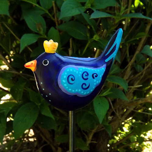 """Blauer Gartenstecker Vogel Zaunkönig """"Emilio"""""""