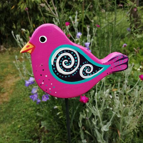 Pink und Mint farbener handbemalter Vogel Gartenstecker aus wetterfest lackierte
