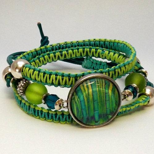 Armband Makramee Bambus, Feng Shui Armband grün