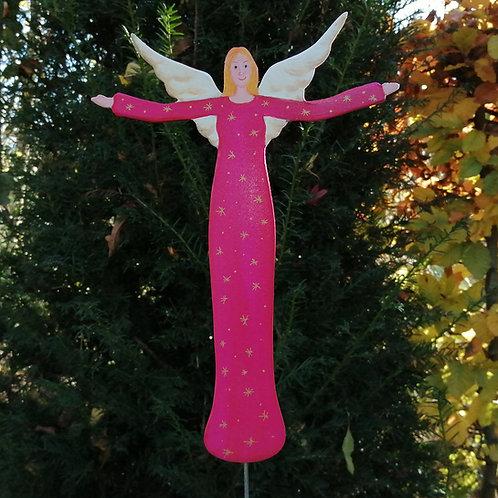 Schutzengel aus Holz mit pinkem Kleid auf Betonsockel Weihnachtsdekoration Gesch