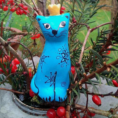Keramikkatze frostfest türkis, Gartenstecker Deko Garten