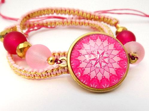 Wickelarmband mit Mandala, Makramee, Rosa, Gold