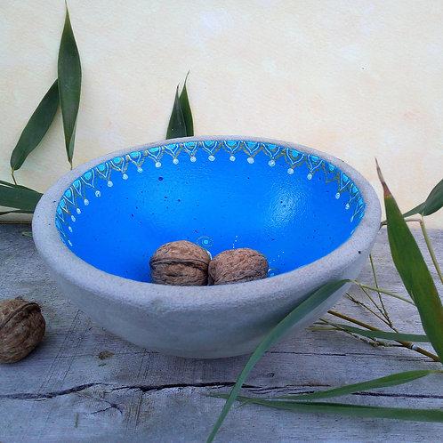 orientalische blaue Schale Beton mit Sonnenmandala