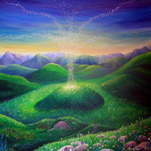 Acrylgemälde Landschaft spirituell, 100 x 100 cm