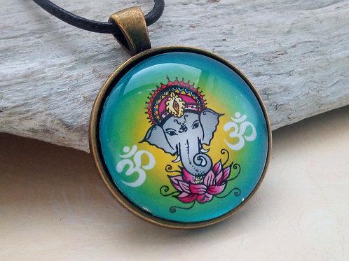 Kette mit Ganesha bunt, Medaillon Ohm, spirituell