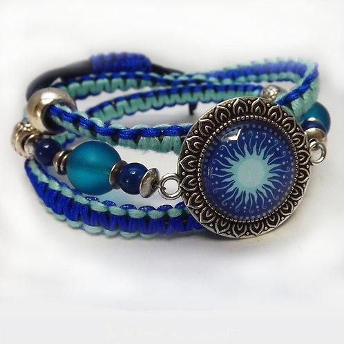 Wickel Armband Makramee Sonne, Blau