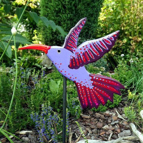 """Kolibri Gartenstecker """"Siri"""" in Rot und Lila"""
