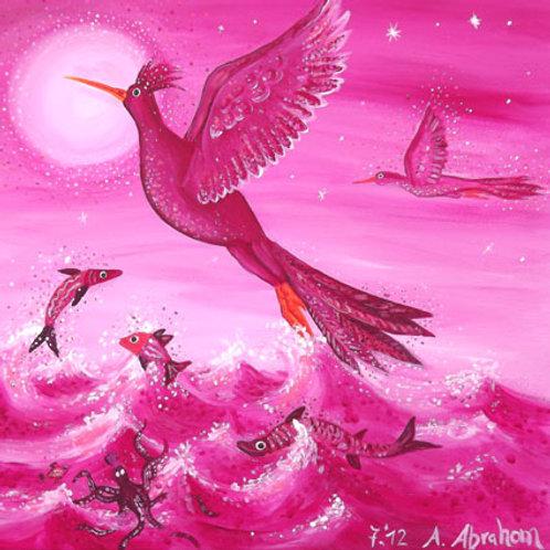 "Acrylgemälde Pink, ""Fliegende Vögel"", 40 x 40 cm"