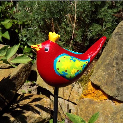 Rote Keramik Zaunkönigin,  wetterfester Gartenstecker