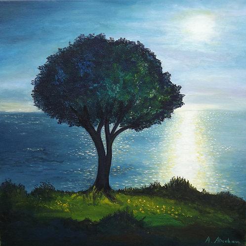 Acrylbild Baum und Meer, 50 x 50 cm