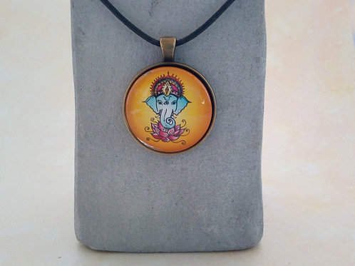 """Spirituelle Lederkette mit Medaillon """"Ganesha"""", Bunt"""