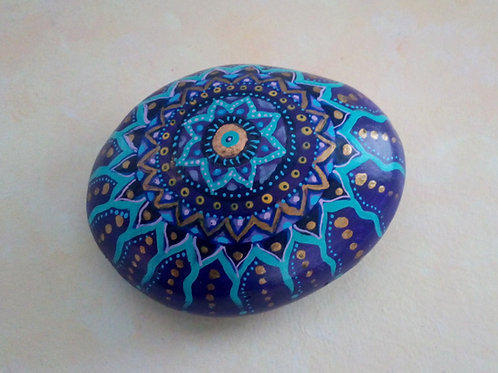 Mandala Stein Lila, Türkis, Mandala Art, Paperweight