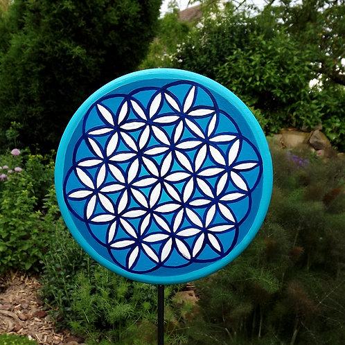 "Mandala Gartenstecker ""Blume des Lebens"" türkis"