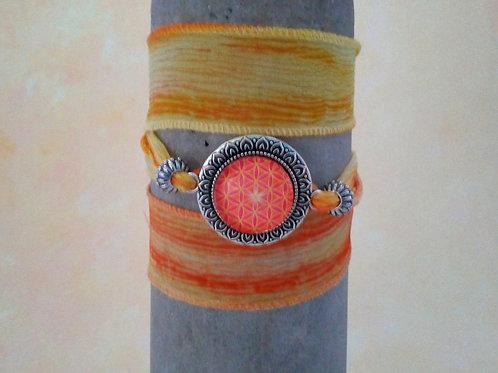 Blume des Lebens, Seiden Wickelarmband Orange, Gelb