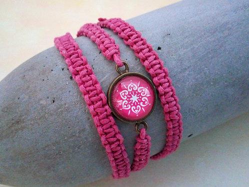 Makramee Armband orientalisch, Wickelarmband Pink