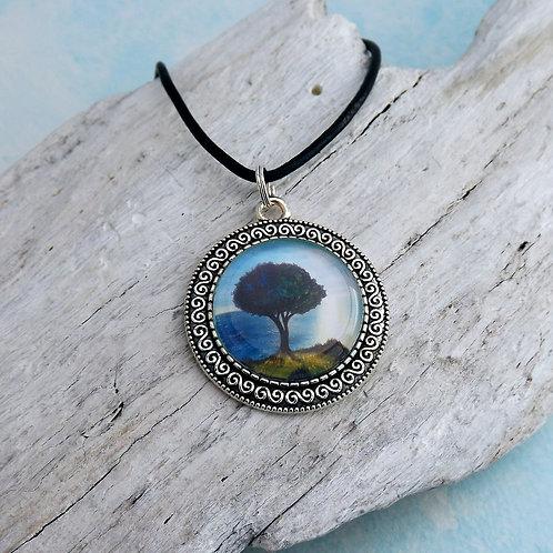 Cabochon Kette, Kunst Kette Baum, orientalisch
