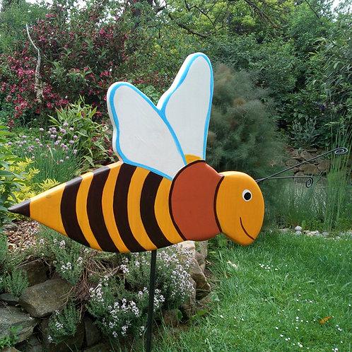 Gartendeko, Gartenstecker Biene aus Holz, Pflanzenstecker handbemalt, wetterfest