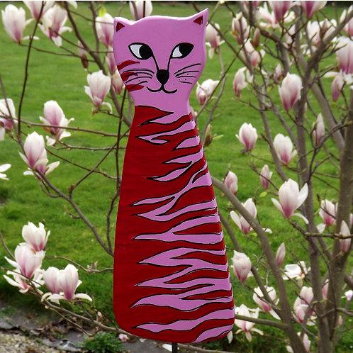 """Holz Gartenstecker Katze """"RosaRot"""" in Rot und Rosa"""
