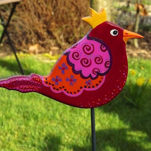 """Rote Gartenstecker Vogel Zaunkönigin """"Pelegia"""""""