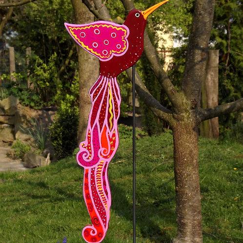 """Großer Gartenstecker Paradiesvogel """"Pualani"""" Rot"""