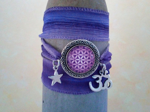 Blume des Lebens, Seiden Wickelarmband lila, boho