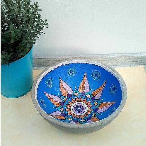 Betonschale groß, handbemalt mit Mandala, Deko