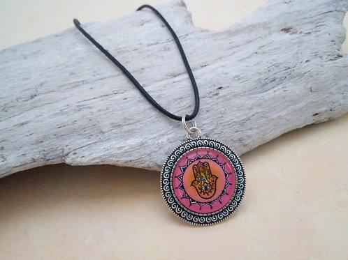 Kette Hamsa rosa, Hamsah, Schutzsymbol