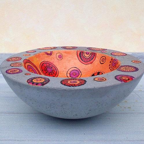 Moderne Betonschale rund, Retrodesign, Orange, Pink