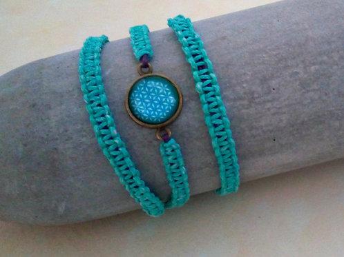 Blume des Lebens, Makramee Armband türkisgrün