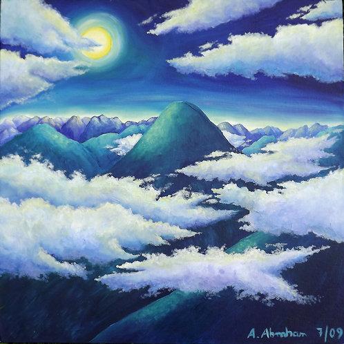 Kunst, Gemälde spirituell,  Acryl 50 x 50 cm, Berge,
