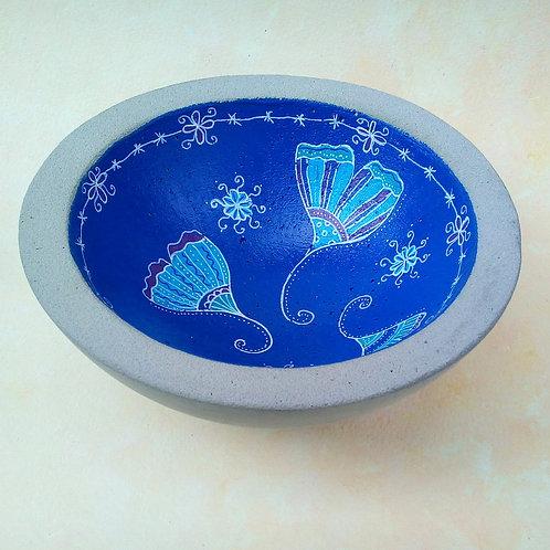 Große, blaue Betonschale  Gingko, Glückssymbol