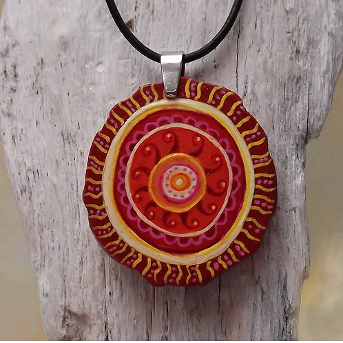 Kette Astscheibe Rot, Gelb, Boho Style, Ethnolook