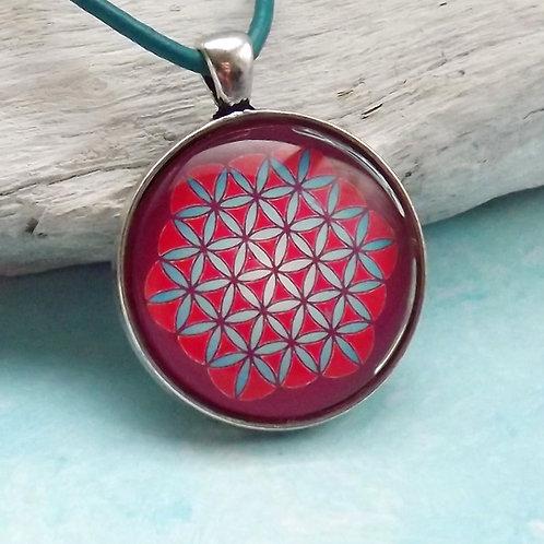 """""""Blume des Lebens"""" Halskette mit Lederband, Rot"""