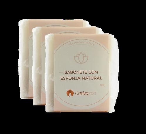 Kit 3 un Sabonete Esfoliante com Esponja Natural Cativa Spa Orgânico Ve