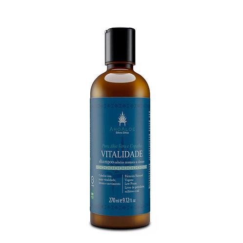 Shampoo Natural Vegano VITALIDADE Cabelos Normais e Oleosos 270ml - AhoAloe