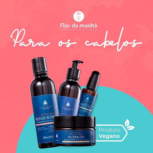 Kit cabelos normais e secos Shampoo, Condicionador, Máscara e Sérum - Ahoaloe