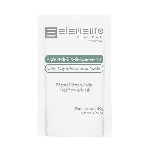 Argila Verde com Pó De Águamarinha Vegano Facial 30g - Elemento Mineral