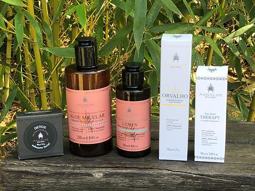 Kit Skincare Sabonete, Aloe Micelar, Tónico, Hidratante, Óleo Nutritivo.