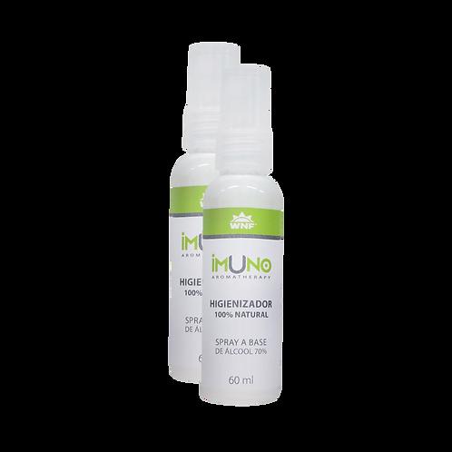 Kit c/ 2un Imuno Aromatherapy Spray Higienizador Natural Álcool 70% 60ml - WNF