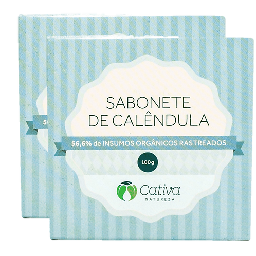 Kit 2 un - Sabonete Vegetal de Calêndula em Barra Orgânico Vegano 100g - Cativa