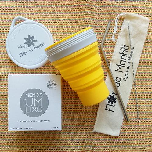 Kit Copo de Silicone Cor Girassol + Kit Canudo Inox, Escova de Limpeza e Bag