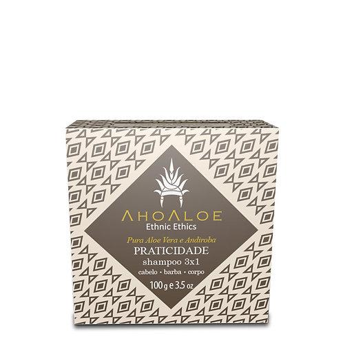 Shampoo Sólido Natural Vegano 3 em 1 PRATICIDADE 100g - AhoAloe