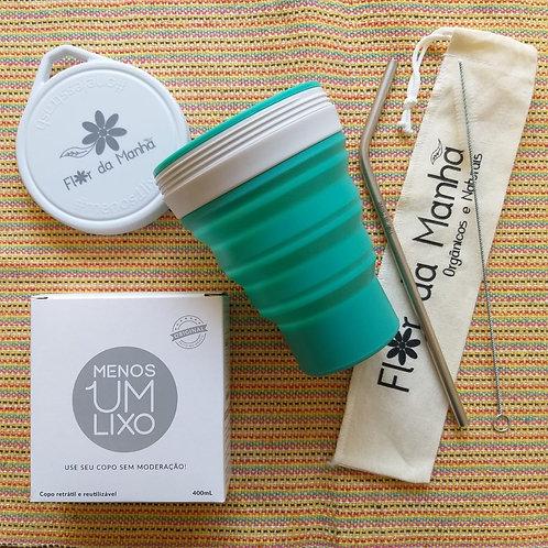 Kit Copo de Silicone Cor Kiwi + Kit Canudo Inox, Escova de limpeza e Bag
