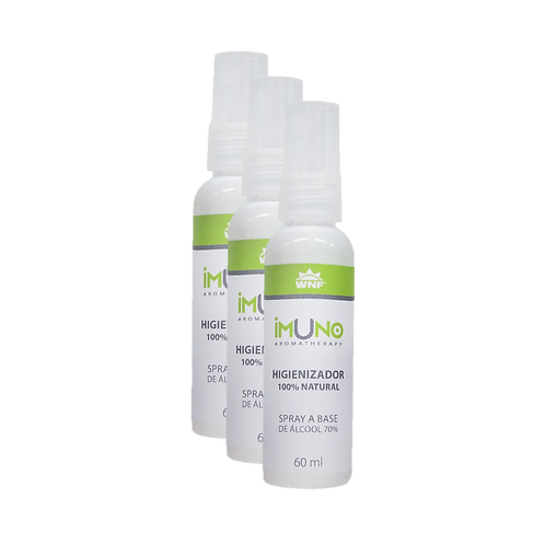 Kit c/ 3un Imuno Aromatherapy Spray Higienizador Natural Álcool 70% 60m