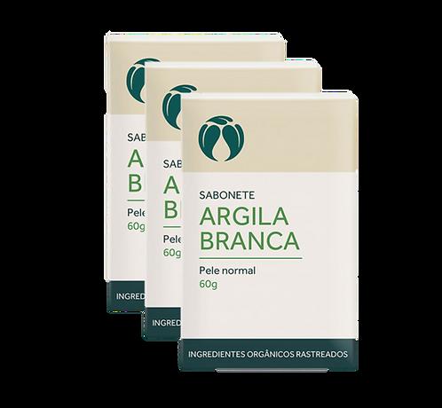 Kit 3 un - Sabonete Argila Branca Pele Normal Orgânico Vegano 60g - Cat
