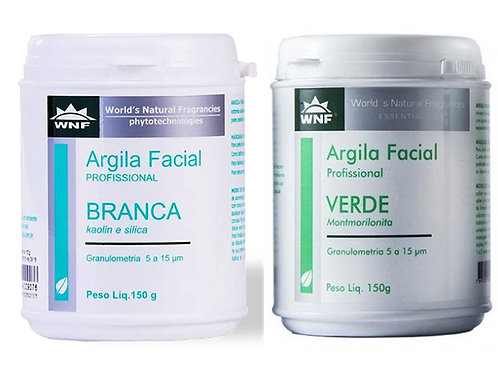 Kit Argila Branca Natural 150g e Argila Verde Natural 150g - WNF