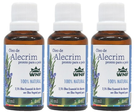 Kit c/ 3un Óleo de Alecrim pronto para uso direto na pele 30ml - WNF