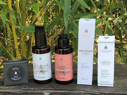 Kit Skincare Sabonete, Leite de Limpeza, Tónico, Hidratante, Óleo Nutritivo.